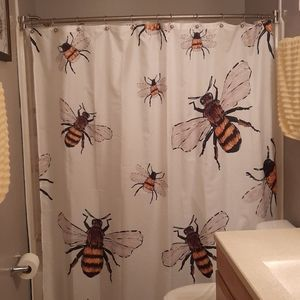 Fabric shower curtain cute bumble bee print